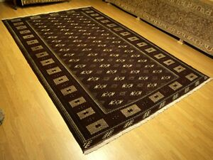 8 4 X 13 Handmade High Quality 1950s Persian Turkoman Bukhara Wool Rugexcellent