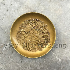 China Antique Collection Dragon Phoenix Copper Disc Accessories