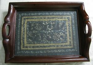 Old Chinese Blue Floral Embroidered Silk Panel In Antique Carved Wood Tray