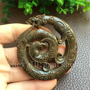China Antique Collection Old Jade Ancient Jade Dragon Phoenix Pendant