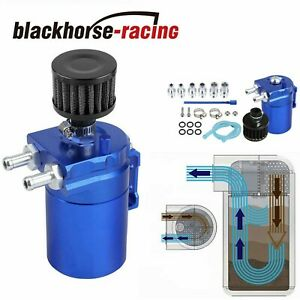 Blue Tank Can W Filter Cylinder Aluminum Engine Oil Catch Reservoir Breather