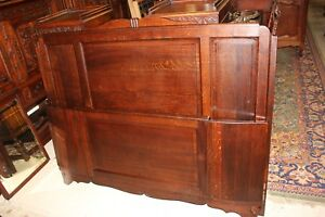 French Antique Tiger Oak Art Deco Full Queen Size Double Panel Bed W Rails