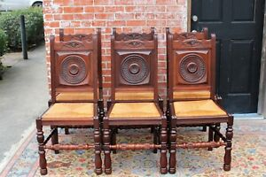 French Antique Carved Mahogany Renaissance Set Of 6 Rush Seat Dining Chairs
