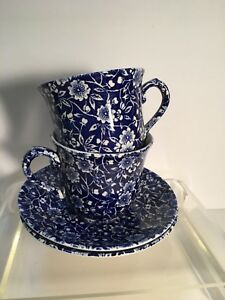 Pair Of Queen S Blue And White Calico Cup And Saucer Made In England