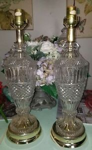 Vintage Pair Table Lamps Diamond Cut Pressed Clear Glass