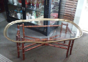 Vintage Hollywood Regency Faux Bamboo Brass And Glass Table
