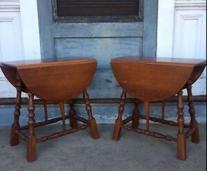 Small Pair Vintage Butterfly Drop Leaf End Tables Delivery Available Call