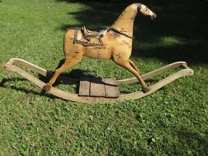 Rocking Horse Delivery Available Circa1860 S Folk Art Original Victorian Antique