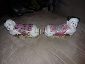 Chinese Famille Rose Porcelain Boy And Girl Pillow Headrest Figurine