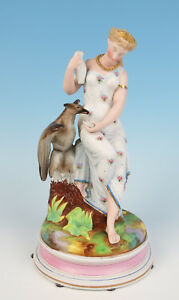 Antique Goddess Hebe W Zeus Eagle French Bisque Porcelain Figurine Paris Figure