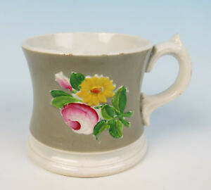 Antique Staffordshire Pearlware Relief Molded Mug Rose English Pottery Cup