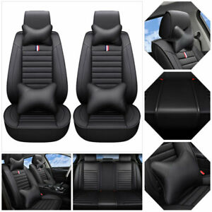 Us 5 Seats Pu Leather Car Seat Cover Universal Suv Front Rear Cushion Set Black