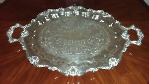 Huge Antique Silver Plate 31 5 X 20 5 Butler Serving Tray English Silver Co