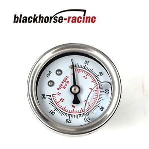 Universal White Adjustable Fuel Pressure Regulator Gauge With 0 100 Psi New