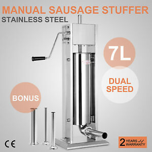 7l Vertical Commercial Sausage Stuffer Two Speed Stainless Steel Meat Press