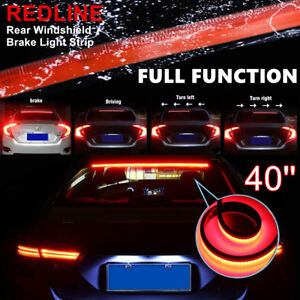 1x Red Led Rear Windshield High Mount 3rd 4th Brake Tail Sequential Strip Lights