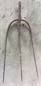 Antique Primitive 3 Tine Pitch Fork Hay Rake Head Rustic Hand Forged Man Cave