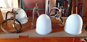 Lot Of 3 Vintage Antique Light Chandeliers Church Domed Glass Brass