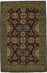 Decorative Hand Knotted Floral Design Chobi Indian Area Rug Oriental Carpet 6x9