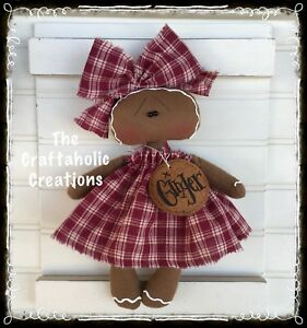 Custom Order Primitive Raggedy Doll Gingerbread Ginger Tag Personalized
