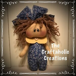 Custom Primitive Raggedy Doll Country Blue Girl Brown Hair Personalized