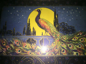 Antique Art Deco Serving Tray Peacock Moon Light Chrome Glass 1920 S Helen Wold