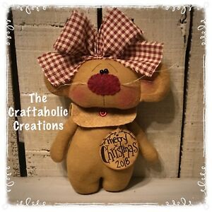 Custom Primitive Raggedy Doll Country Mouse Ornie Valentine Ornament Girl