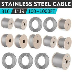 T316 Stainless Steel Cable Wire Rope 1x19 100 200 300 500 700 1000ft