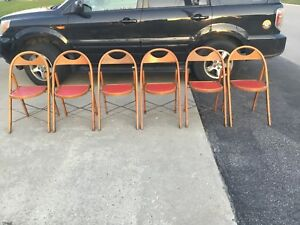 6 Vintage Antique Solid Wood Folding Bentwood Style Chair Padded Seat