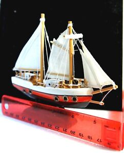 Sailing Ship Vtg Assembled Wood Model W Skillfully Hand Crafted Details