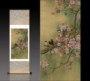 Chinese Silk Scroll Painting Peach Blossom Birds Home Office Decoration