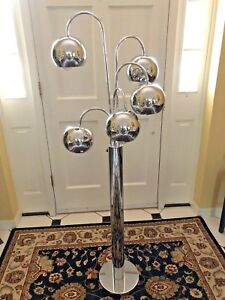Mid Century 1970s Sonneman Torino Style Orbiting Chrome Waterfall Eyeball Lamp