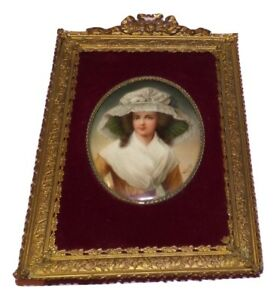 Antique Kpm Painting On Porcelain Plaque Lady Wearing Hat Signed Wagner