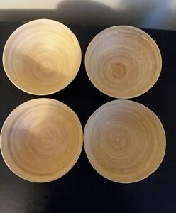 Set Of Four Core Round Wooden Salad Bowls