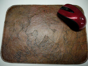 Leather Floral Mouse Pad Unique Design Made In Usa Dark Tan