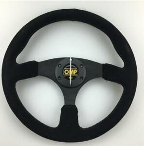 Universal 350mm Flat Suede Leather Spoke Rally Racing Car Steering Wheel For Omp