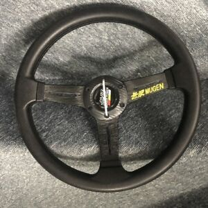 Mugen Universal 14inch Black Pu Leather Rally Spokes Drift Racing Steering Wheel