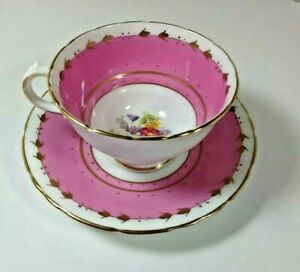 Vintage Hm Sutherland Fine Bone China Pink On White Pink Yellow Roses C S Set