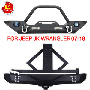 For 07 18 Jeep Wrangler Jk Front Bumper Rear Bumper W Tire Carrier Hitch Receive