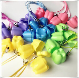 50pcs Milk Teeth Holder Box Plastic Necklace Tooth Shape Baby Kid Promotion Gift