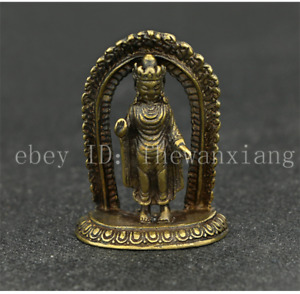 China Antique Collection Brass Nepalese Small Copper Buddha Pendant Accessories