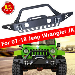 For Jeep Wrangler Jk Front Bumper Skid Plate fog Light Hole winch Plate 07 18 A