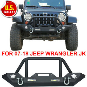 Textured Front Bumper Guard Winch Plate For 07 18 Jeep Wrangler Jk Led Lights