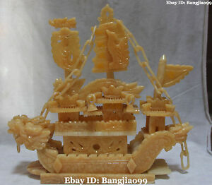 18 Chinese Natural Yellow Jade Carving Dragon Phoenix Ship Boat Sail Vessels