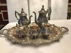 Vintage Wallace Baroque Tea Coffee Service 6 Piece Set With Tray Silverplate