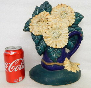 Antique Cast Iron Figural Door Stop Doorstop Flower Floral Basket Bouquet Hubley