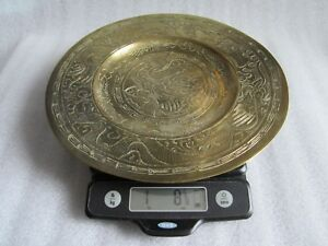 Antique 19th C Chinese Ming Xuande Mark Engraved Dragon Brass Plate 10