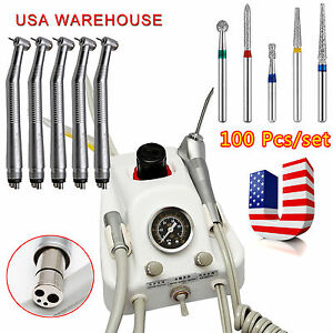 Dental Portable 4 Hole Air Turbine 5 High Speed Handpiece 100 Diamond Burs