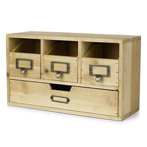 Wood Desktop Office Organizer Drawers Set Storage Cabinet Natural Wood Office
