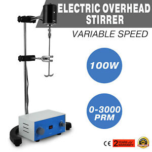 Electric Overhead Stirrer Mixer 100w New Ptfe Shaft Stainless Steel Jj 1a